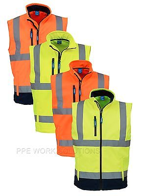 Yoko Hi Vis Softshell Gilet Jacket Premium Fully Waterproof Bodywarmer (HV006)