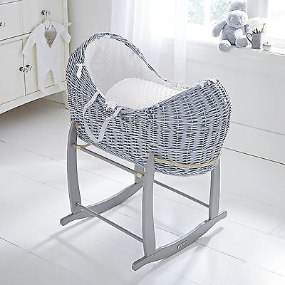 Clair De Lune White Dimple Grey Wicker Noah Pod Moses Basket & Rocking Stand