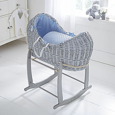 Clair De Lune Blue Dimple Grey Wicker Noah Pod Moses Basket & Rocking Stand