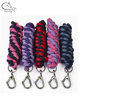 Horse Cotton Lead Rope Walsall Spring Hook Colours Pony Dog Donkey FREE DELIVERY