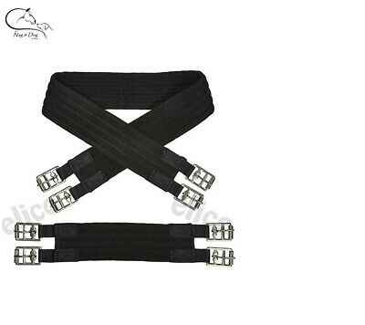 """Cotton Padded Girth BLACK 16"""" - 22"""" sizes for Mini Shetland Pony FREE DELIVERY"""