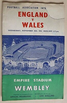 Football Association Official Programme England V Wales 10th Nov 1954 Wembley