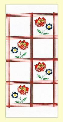 'Red Country Calico' Retro Vintage Style Flour Sack Kitchen Towel
