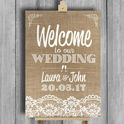 Burlap & Lace Effect • Welcome To Our Wedding • Personalised Wedding Sign