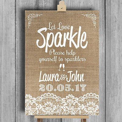 Burlap & Lace Effect • Sparklers Send Off • Personalised Wedding Sign