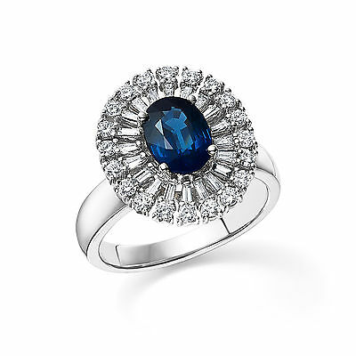 2.13 Ct Natural Diamond Engagement Ring 14K White Gold Oval Blue Sapphire Size 7