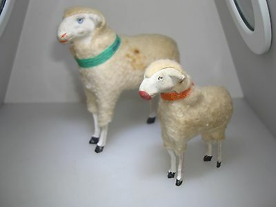 Pair Of Antique Germany Putz Wooly Sheep!