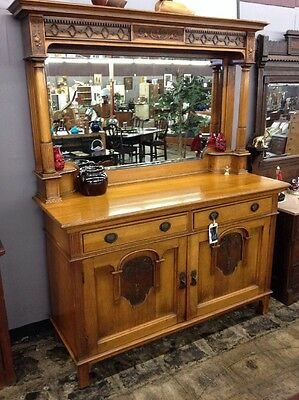 Antique Solid Wood Buffet W/ Mirror English  Beautiful!