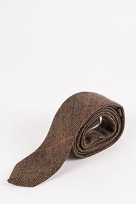 Mens Marc Darcy Designer Tan Multi Tonal Check Print Tweed Tie