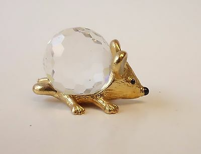 Vintage Crystal And Gold Metal Hedgehog Animal Figurine W/ Logo Mark