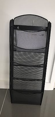 Black Wall Mounted 5 Tier Metal Magazine/paper Rack. Barber/hairdresser/ Office