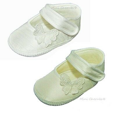 Baby Girls White or Ivory Silk Dupion Butterfly Christening Occasion Pram Shoes