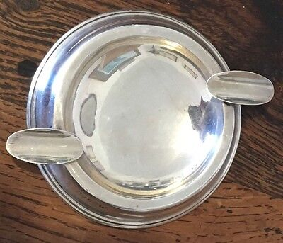 Solid Silver Walker & Hall Rounded Ashtray 1930 Birmingham