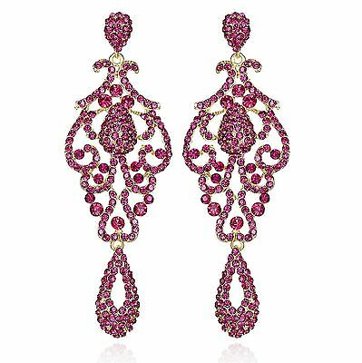 PAGEANT AUSTRIAN CRYSTAL RHINESTONE CHANDELIER DANGLE EARRINGS PROM E2090-Pink
