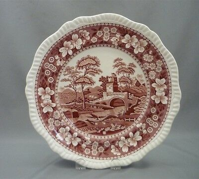 "Copeland Spode's PINK Tower England Red Transferware 10 1/4"" Dinner Plate Dish"