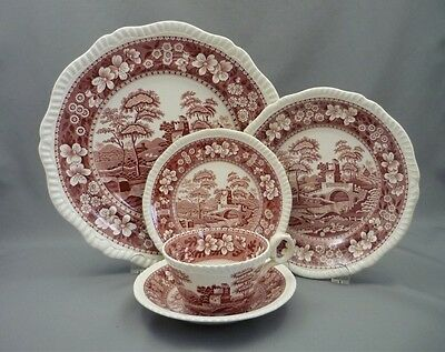 5 Piece Place Setting Copeland Spode's PINK Tower England Tea Cup Saucer Plates