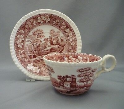 Copeland Spode's PINK Tower England Red Transferware Tea Cup & Saucer Set Duo
