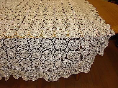 Vintage Queen Crocheted White Cotton Bedspread - Coverlet - S14