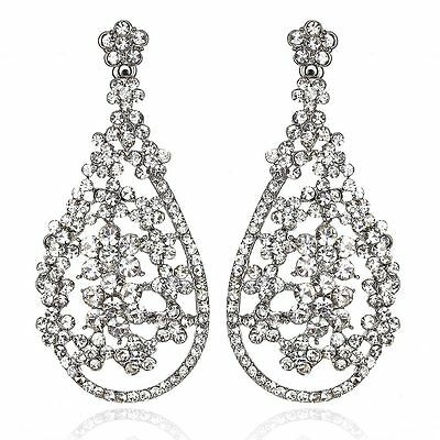 Blooms Silver Austrian Crystal Rhinestone Chandelier Dangle Earring Wedding E109