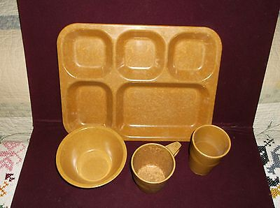 US Military 1952-66 Halsey Mess 4 pieces Tray Cup Glass and Bowl Korea Vietnam
