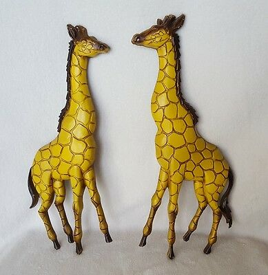 "Vtg 1970~""sexton""~Made In Usa~Cast Aluminum~Set Of 2 Giraffes~Wall Hanging~Decor"