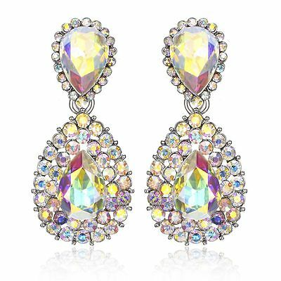 Halo Drop Austrian Crystal Rhinestone Chandelier Dangle Earrings Studs E117a AB