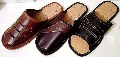 Men's Natural Leather Slippers Flip Flops Mules Slip On Breathable Indoor Shoes