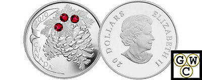 2010 Ruby Crystal Pinecones Proof $20 Silver .9999 Fine (12733) (NT)
