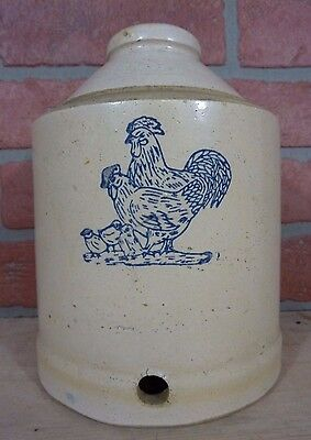 Old Stoneware Pottery Chicken Rooster Water Feeder Decorative Farm Art