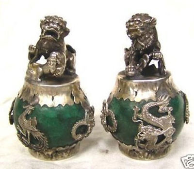 tibet silver Old Jade Carving Figures Dragon Phoenix lion foo dog Statue