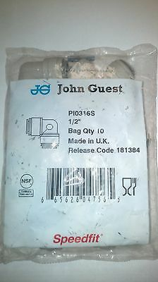 John Guest PI0316S Elbow Union 1/2 inch Bag of 10
