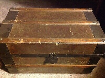 Small Antique Doll Trunk With Tin