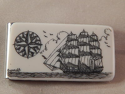Scrimshaw  Resin  Money Clip  Side Ship - Compass Rose B/W