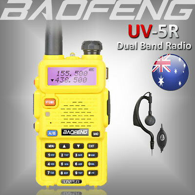 BAOFENG UV-5R YELLOW Dual Band FM Radio 136-174/400-520Mhz VHF/UHF Walkie Talkie