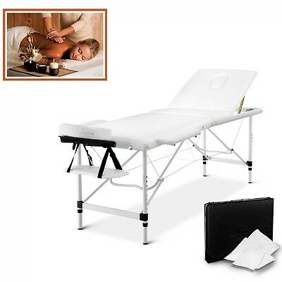 Aluminium Frame Massage Table Chair Bed Portable 3 Fold 60cm Free Bag White NEW
