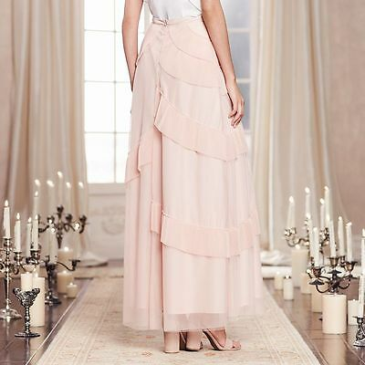 98bbf64609ee8 LAUREN CONRAD runway Collection Tiered Tulle pleated Maxi Skirt cameo rose  4 NEW