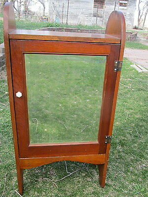 Antique Vintage Wood Standing Medicine Cabinet Shelf Beveled Mirror