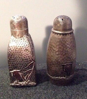 Gorham Antique Mixed Metal Sterling Silver Hammered Salt & Pepper Shakers
