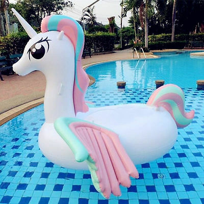 265*220*160cm Inflatable Ride-On Swimming Float Pool Colorful Wings Unicorn Pond