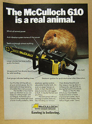 1980 McCulloch PRO MAC 610 Chain Saw chainsaw beaver photo vintage print Ad