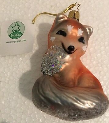 Inge Glas German Blown Glass Red Fox Kit Figurine Ornament EUC w/ Original Tag