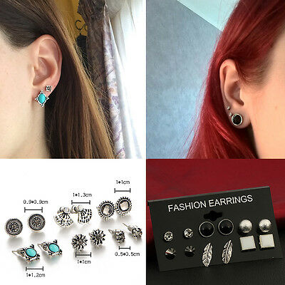 6 Pairs Lot Boho Vintage Turquoise Crystal Earrings Set Ear Stud Jewelry Gift