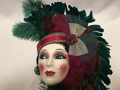 Clay Art Ceramic Mask 22 inches Wine Teal Gold Feathers