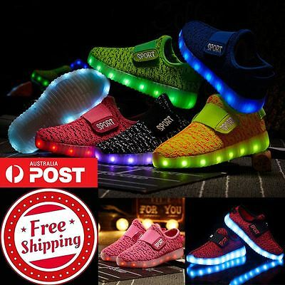 Childrens LED LIght UP Shoes for Boys & Girls. Kids USB Charge Luminous Trainers