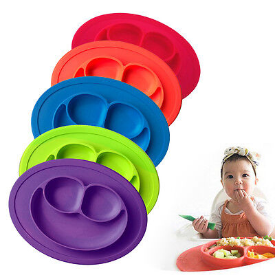 New Child Baby Feeding Safety Cute Smile Divided Dish Home Tray Eating Plates