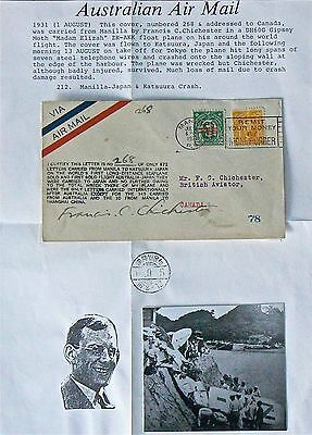 Australian Flight Cover.1931 Chichester Flight.manila To Japan.signed. Crashed.