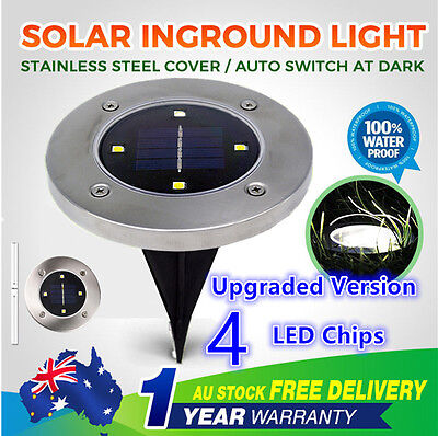 6/12/24/30X Solar Powered Stainless 4LED Buried Inground Deck Recessed Light