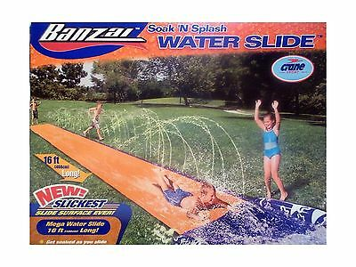 Banzai Soak 'N Splash Mega Water Slide with NEW Slickest Slide Surface Ev... New