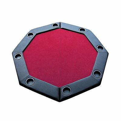 Brybelly GPTT-102 Felt Folding Octagon Poker Table Top with Cup Holders a... New