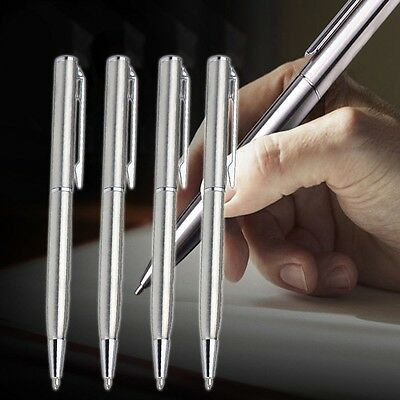 Stainless Steel Ball Point Pen Black Ink Silver School Stationery Office Gifts